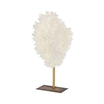 A serene small white coral sculpture with gold stand
