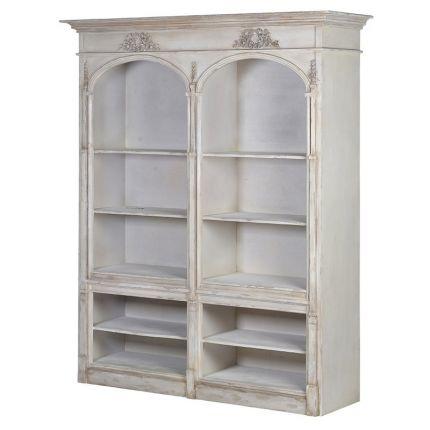 Large French-style, distressed grey coloured double bookcase