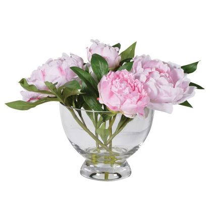 Pink Peonies Arrangement with Glass Bowl