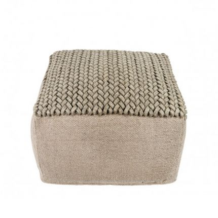 A woven stylish cube-shaped pouffe with a woven top
