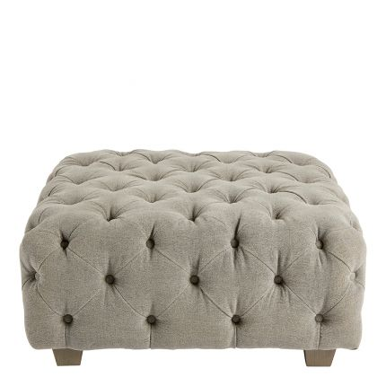 Square, grey linen pouffe with deep buttoning