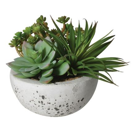 Artificial Plant In Stone Bowl