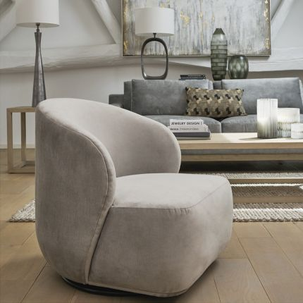 Luxurious contemporary taupe velvet swivel chair