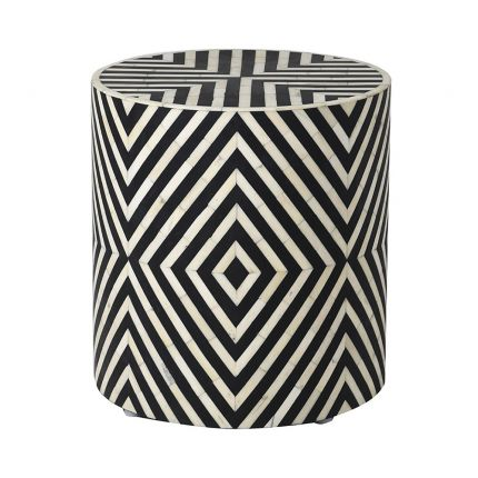 Black and white bone inlay stool with resin finish
