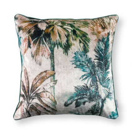 Printed velvet foliage cushion with neutral linen reverse side