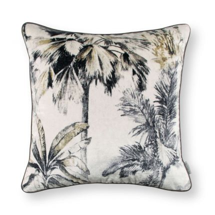 Printed neutral velvet foliage cushion with linen reverse side
