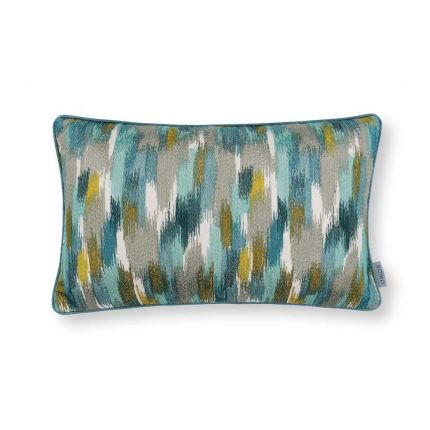 An embroidered linen cushion with tropical inspired coloured