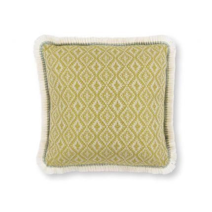 An outdoor jacquard woven cushion with a decorative fringe and diamond pattern.