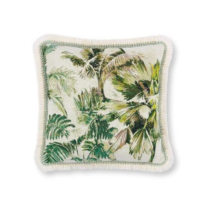 A tropic outdoor cushion with fringe details.