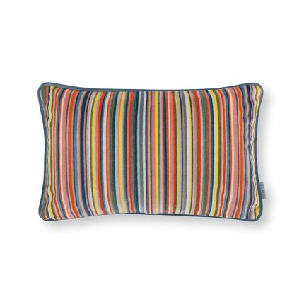 A multi-coloured, velvet cushion with teal piping.