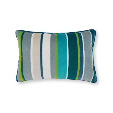 An outdoor, velvet cushion designed with blue and green vertical stripes of different thicknesses.