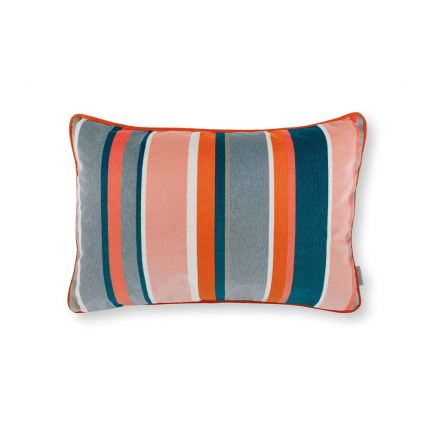 A multi-coloured velvet, outdoor cushion decorated with various colours and stripe sizes.