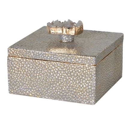 Gold shagreen finish trinket box with agate stone handle