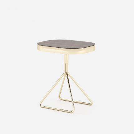 A luxurious polished side table with a matte smoked eucalyptus tabletop