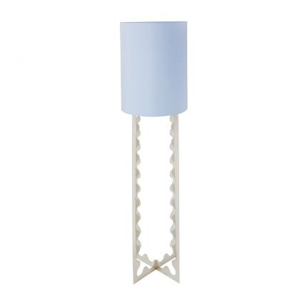 Shiny nickel floor lamp with ripple detailing with blue lampshade
