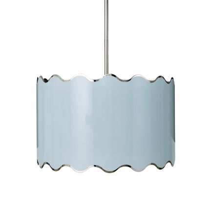 A fabulous pastel-coloured pendant chandelier with nickel detailing