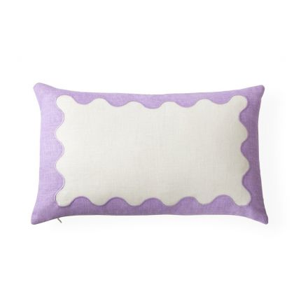 an elegant two-toned lavender and white ripple embroidered cushion