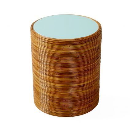 Jonathan Adler honey-toned rattan side table with glossy blue surface