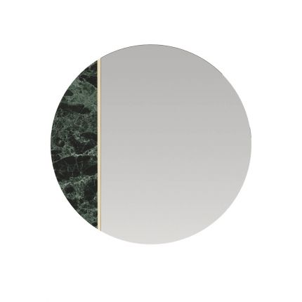 Round, clear mirror with a rosso levanto marble segment and gold finish