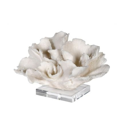 white faux coral sculpture decorative accessories with a clear base