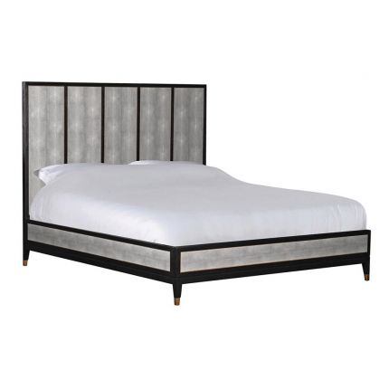 A contemporary shagreen PU leather superking bed