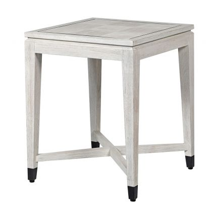 Contemporary white oak side table with black accents