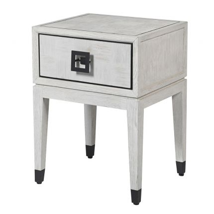 Contemporary white oak bedside table with black iron accents