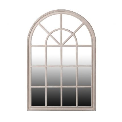 A window frame mirror with an antique taupe finish