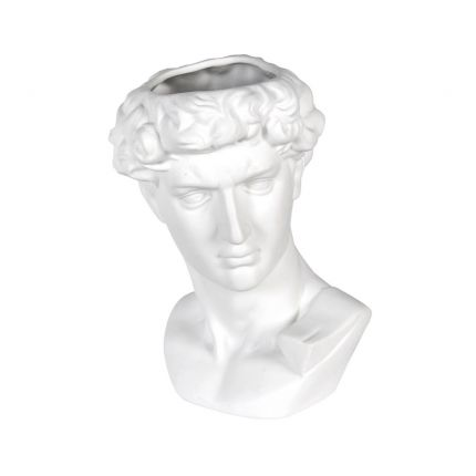 An ancient Greek-inspired white ceramic male bust vase