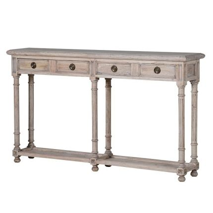 Distressed wood, French-style console table with two drawers