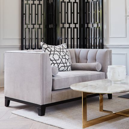 Contemporary style, sharp edge sofa, with buttoned back and bolster cushions