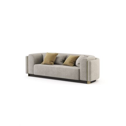 Grey linen 2 seater sofa with glossy gold detailing and dark base. Pictured in Xangai Light Grey.