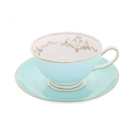 Glossy mint blue teacup and saucer with embellished gold detailing