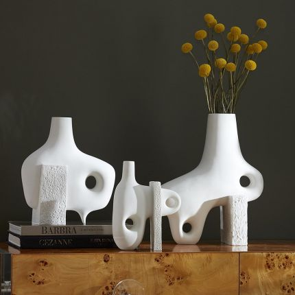 Matte porcelain decorative sculpture with smooth and rough texture