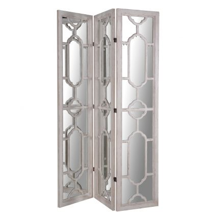 Chic French grey 3 panel mirrored decorative folding screen