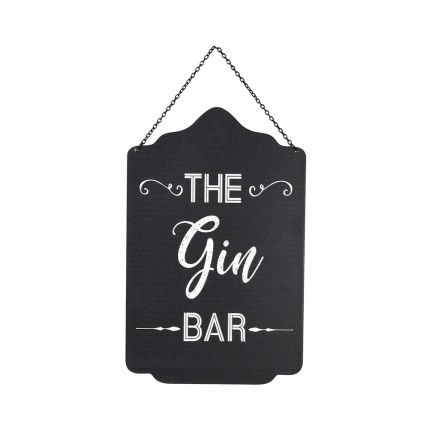 A luxurious black iron gin sign with white text