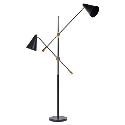 Industrial style double lamp floor lamp in black and brass
