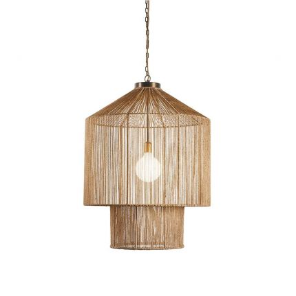 A large jute and iron pendant light with gold wire