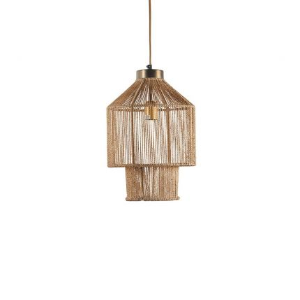 A small jute and iron pendant light with gold wire
