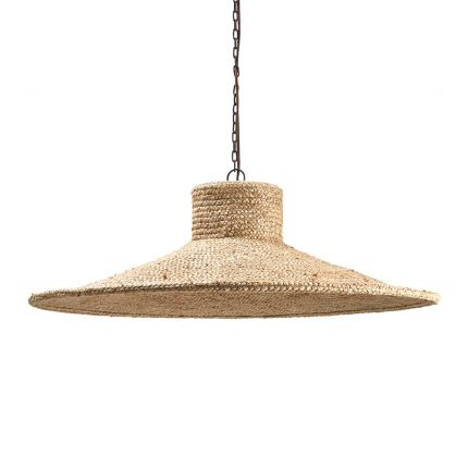 jute ceiling lamp with iron chain