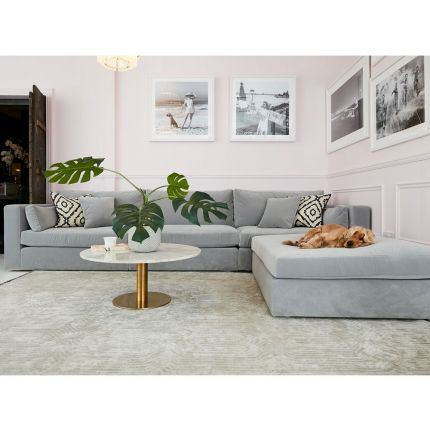 Luxury bespoke modular sofa with extra deep seating  - Pictured in Luxury Velvet Harbour Mist