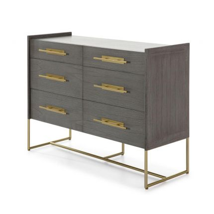Luxury contemporary grey wood chest of drawers with golden metal handles