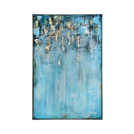 abstract blue sea painting with gold accents