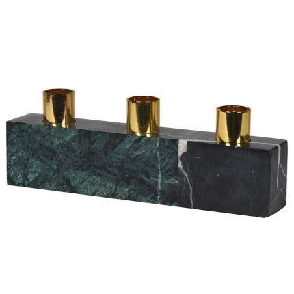 green and black marble candle holder with gold accents