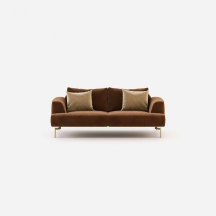 Luxury velvet, contemporary style 2 seater sofa with gold steel legs