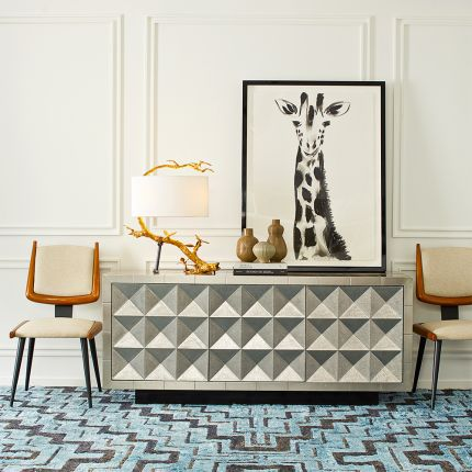 A dazzling rock glam sideboard with a chic, nickel finish