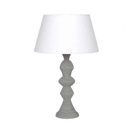 Elegant carved stone table lamp in a grey wood finish