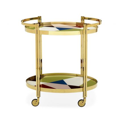 Polished brass bar cart drinks trolley with two painted glass shelves