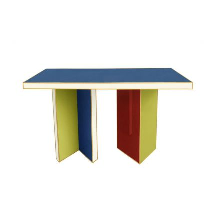 A vibrant glamorous multicoloured console table with defining brass detailing
