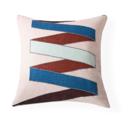 Contemporary red and blue embroidered square cushion by Jonathan Adler